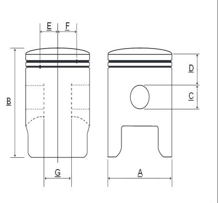 Piston Prox Suzuki RM 125 00-03, 54.00 mm