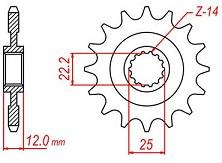 Pinion fata otel Gas Gas EC, MC 250