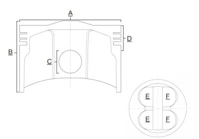 Piston Prox Honda CRF 250 R 04-07, CRF 250 X 04-17, raport compresie 12.9:1